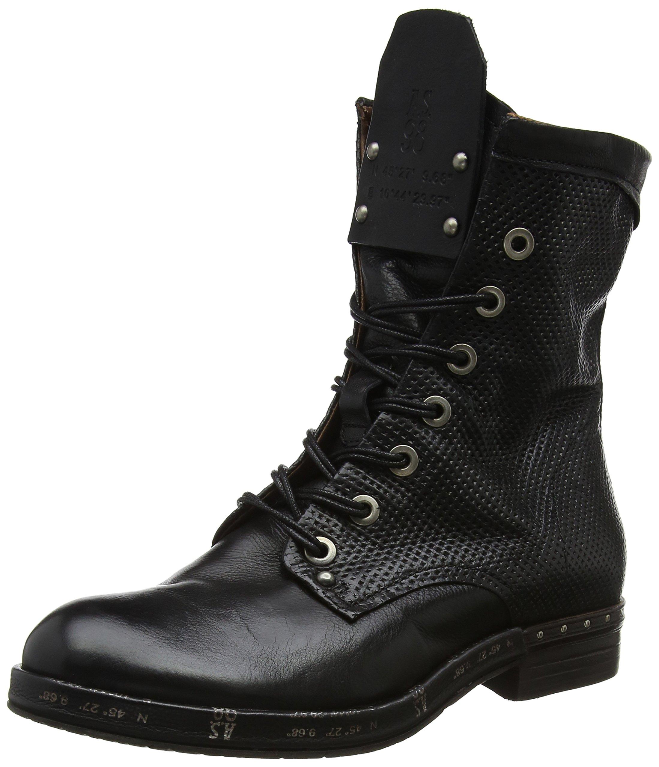 A.S.98 Ball Damen Leder Boots, Schwarz