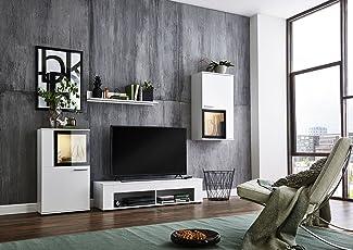Elegant BMG Möbel Wohnwand Schrankwand Wohnzimmerschrank Mediawand Anbauwand  TV Element Orlando In Weiß/schwarz Inkl