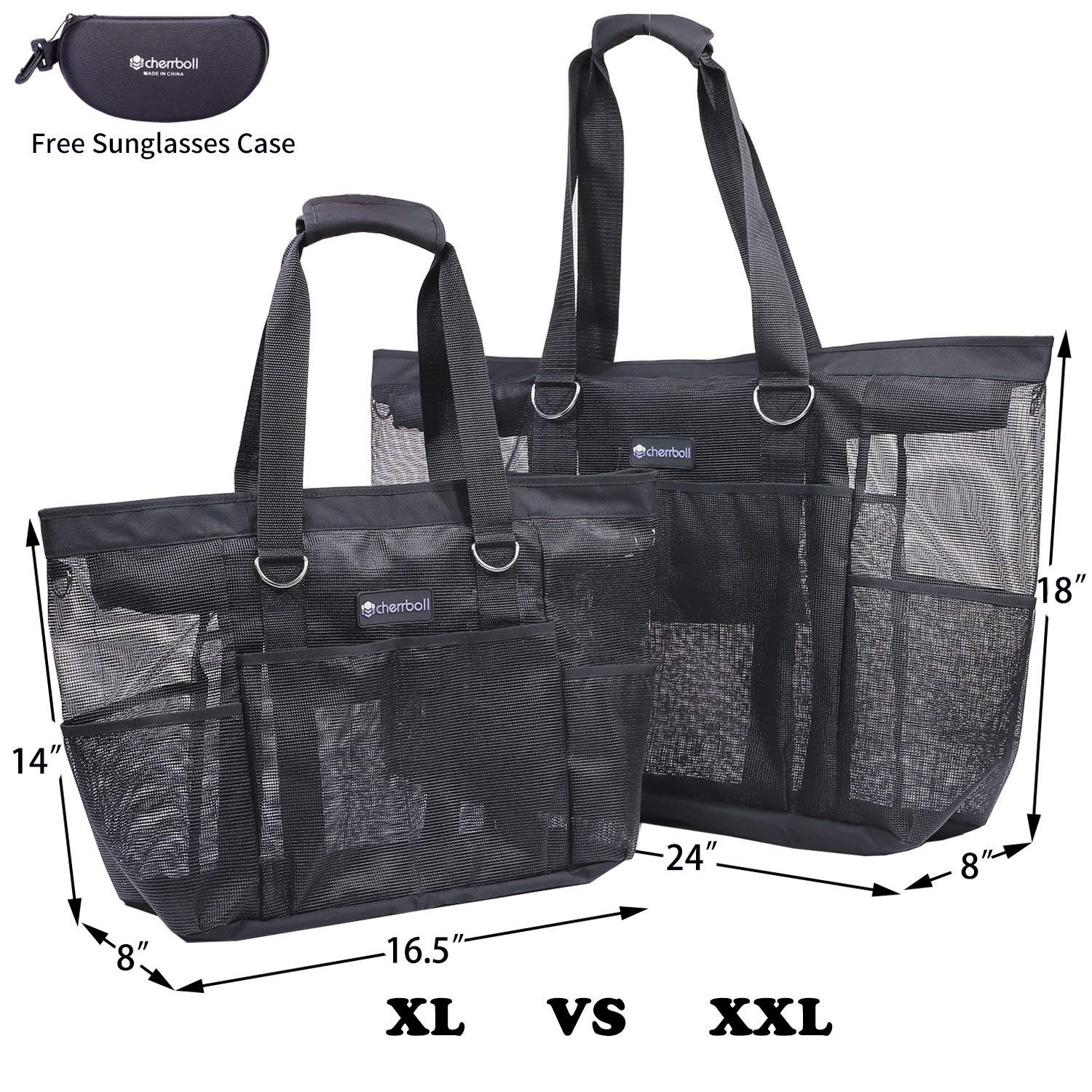1e15e7167ef7 OOSAKU Mesh Beach Tote Bag with Large Pockets Zippers Portable Outdoor  Travel Bags - Luggage and Travel Accessories
