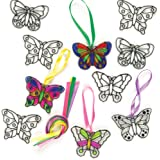 Baker Ross Butterfly Mini Suncatcher Decorations (Pack Of 12) For Kids Arts and Crafts