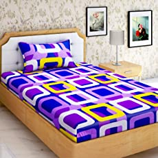 HOME ELITE 144 TC Printed 100% Cotton Single Bedsheet with 1 Pillow Cover (SB204, Multicolour)