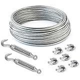 SET 10m câble acier galvanisé 6x7 3mm + 6 serre-câbles étrie et 2 tendeurs a cage crochet-oeil