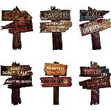 6 stycken halloween dekorationer gårdsskyltar med stavar halloween varning vägskylt halloween varning rekvisita utomhus gård