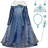 YOSICIL Niñas Cosplay Vestido de Princesa Elsa con Capa Vestido de Frozen Manga Larga Vestido Largo Disfraz Azul Dulce Disfra
