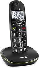 Doro PhoneEasy 110 DECT Schnurlostelefon (große Schrift und große Zahlen, optische Anrufsignalisierung) schwarz