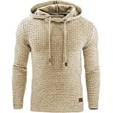 Minetom Men Hoodies Casual Winter Autumn Fashion Plaid Sport Style Drawstring Sweatshirt Handsome Coat Jacket Solid Color Pul