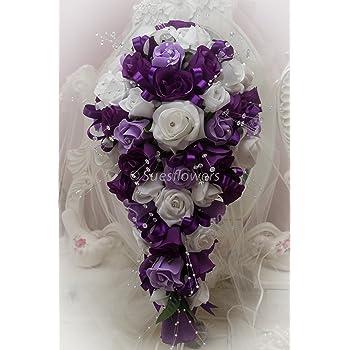 Wedding Flowers Brides Teardrop Purple Lilac And White Amazon