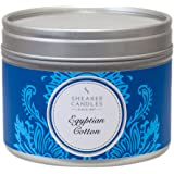 Shearer Candles Egyptian Cotton Small Scented Silver Tin Candle - White