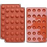 homEdge Mini moule en silicone semi-sphérique à 24 cavités, 3 moules pour la fabrication de chocolat, gâteaux, gelée, mousse