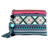 ASTRID Blue Cotton Makeup/Travel Pouch With Tassels