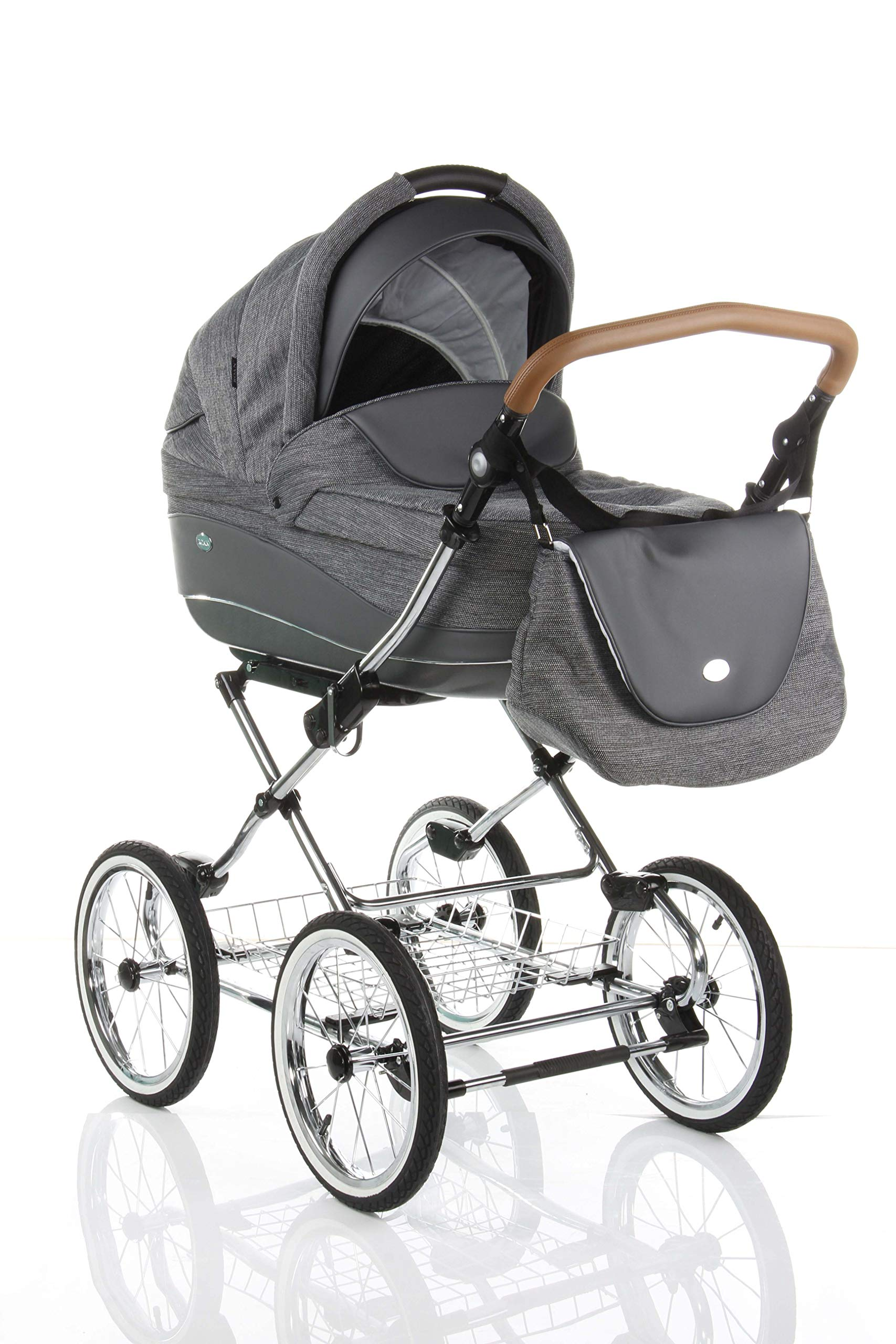 Children's Pram Buggy Stroller Combination Car seat Classic Retro Baby Carrier ROAN Emma (E-81 Dark Grey Melange-Grey Leather, 2IN1) JUNAMA Frame / wheels Sturdy and lightweight aluminum frame construction with folding function 1-click system for easy assembly and disassembly Practical carrying handle for easy storage of the folded frame Wheels for inflating (14 inch) removable wheels Brake system with central brake Height-adjustable push handle - 10-fold matching shopping basket Dimensions folded with wheels: 86 x 60 x 40 cm folded without wheels: 76 x 60 x 26 cm Total height of the stroller to hood top: 106 cm Height of the tub from the ground: 60 cm Wheelbase External dimensions: 80x 58 cm Variable height of the push handle: 77- 119 cm Weight of the frame incl. Wheels and carrying bag 15 kg Carrycot Length and width of carrycot outside: 88 x 42 cm Carrying bag length and width inside: 76 x 35 cm Sturdy plastic tub with comfortable mattress and side protection Ventilation slots on the plastic tub The baby car seat 0-13 kg Maxi-Cosi in black incl. Adapter 1