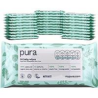 Pura - Salviette Travel 672 (28 confezioni da 24 salviette), 100% senza Plastica, Biodegradabili, 99% Acqua, Aloe Vera…