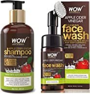 WOW Apple Cider Vinegar No Parabens & Sulphate Shampoo, 300mL & WOW Organic Apple Cider Vinegar Foaming Face Wash with Built
