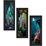 SAF Set of 3 Radha Krishna UV Coated Home Decorative Religious Gift Item Framed Painting 17 inch X 24 inch SAFLP01, Multicolo