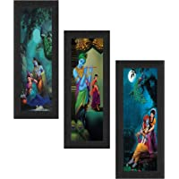 SAF Set of 3 Radha Krishna UV Coated Home Decorative Religious Gift Item Framed Painting 17 inch X 24 inch SAFLP01…