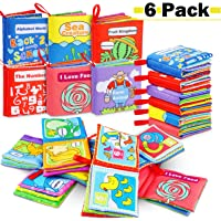 RenFox 6pcs Soft Books for Babies Toddlers Non Toxic Cloth Book Soft Activity Crinkle Book Bath Books Early Learning…