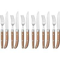 WMF Steakbesteck-Set Ranch Steakmesser Steakgabel Cromargan Edelstahl rostfrei mattiert Eichenholz