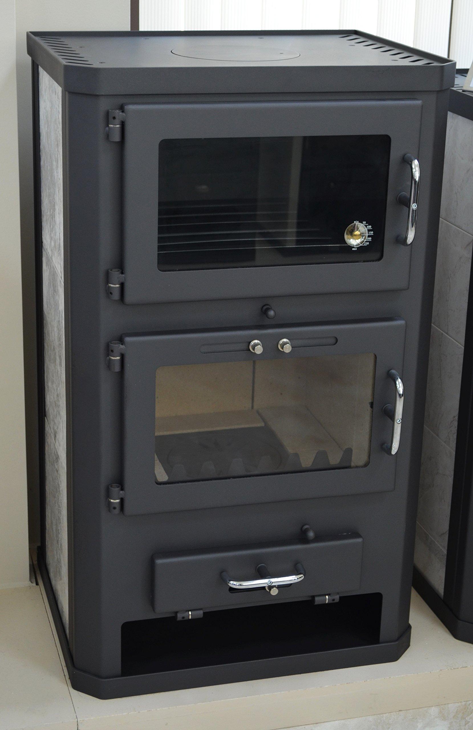 81q7t3Ur4YL - Estufa de leña para estufa, estufa, cocina, combustible, quemador de leña, 12/17 kW, BImSchV 2
