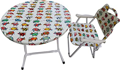 """""""Amaze"""" Folding Baby kids children printed portable outdoor study dining furniture play group Table-1 Chair Set- Animal-"""