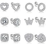 Yadoca 6 paires de boucles d'oreilles Halo pour femmes en or blanc 18 carats/plaqué or rose rond noeud carré couronne amour c