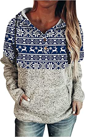 Femmes Tops Pull Noël Manches Longues Femme Noël Hoodies Sweatshirt Casual Pull à Capuche Shirt Manches Longues Col Rond Automne Hiver Pullover