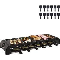 Grand appareil à raclette avec plaque grill 12 personnes 2 plaques de cuisson (12 caquelons, 1800 W, revêtement…