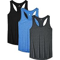 JINSHI Women Activewear Vest Workout Running Shirts Dry Fit Yoga Racerback Tank Tops 3 Pack
