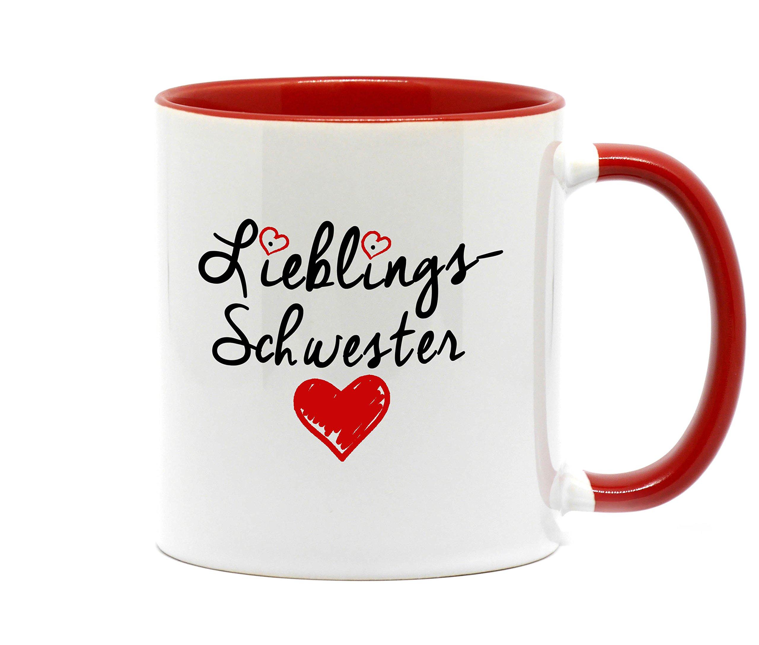 Nice-Presents Tasse Lieblings Schwester in hochwertiger Qualität, beidseitig Bedruckt. Eine besondere Art etwas zu Sagen. EIN tolles Geschenk für die Lieblingsschwester z.B. als Dankeschön. (Rosa)