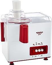 (CERTIFIED REFURBISHED) Maharaja Whiteline Gala JX-117 450-Watt Juicer Mixer Grinder with 2 Jars (White/Majestic Maroon)