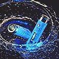 RovyVon Aurora A7x Led-zaklamp met sleutelhanger, 650 lumen, oplaadbare Cree-mini-zaklamp, fluorescerend blauw, superhelder E