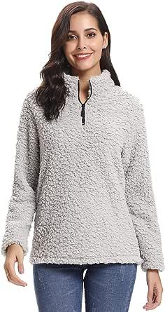 Abollria Cappotto Donna Invernale in Pelo Effetto Pecora Pullover Manica Lunga con Chiusura a Lampo Giacca Donna Calda Ideale Regalo per Natale