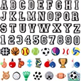 59 Pieces Letter Number and Sports Ball PVC Shoe Charms Assorted Decorative Shoe Charms for DIY Wristbands Bracelets Shoes