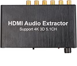 Microware HDMI Audio Extractor Separator 5.1CH 4KX2K Decoding Coaxial to RCA AC3 / DST to 5.1 Amplifier Analog Converter.