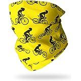 Ruffnek Ciclista Diseño Amarillo y Negro Bufanda con Capucha Multifuncional Calentador de Cuello, Ciclismo Máscara, Pañuelo p