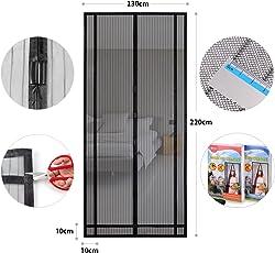 Sekey Magnetvorhang zum Insektenschutz, idealer magnetischer Fliegengitter für Balkontür, Kellertür, Terrassentür (zuschneidbar in Höhe und Breite) durch kinderleichte Klebemontage, schwarz, 220*130cm
