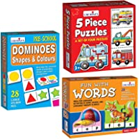 Creative Educational Aids P. Ltd. - CRE0639 Fun with Words Puzzle (Multi-Color, 90 Pieces) & Dominoes - Shapes and…