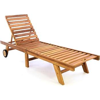 Divero Sonnenliege Gartenliege Relaxliege Liege Aus Teak Holz 200 X 57 X 34  Cm Klappbar Holzliege, Extra Hohe Rückenlehne Bis Zur Liegeposition  Abklappbar ...