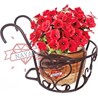 NAYAB Iron Heart Design Hanging Baskets Flower Pot Plant Stand Holder Without Pots for Railing Fence Balcony Garden Home…