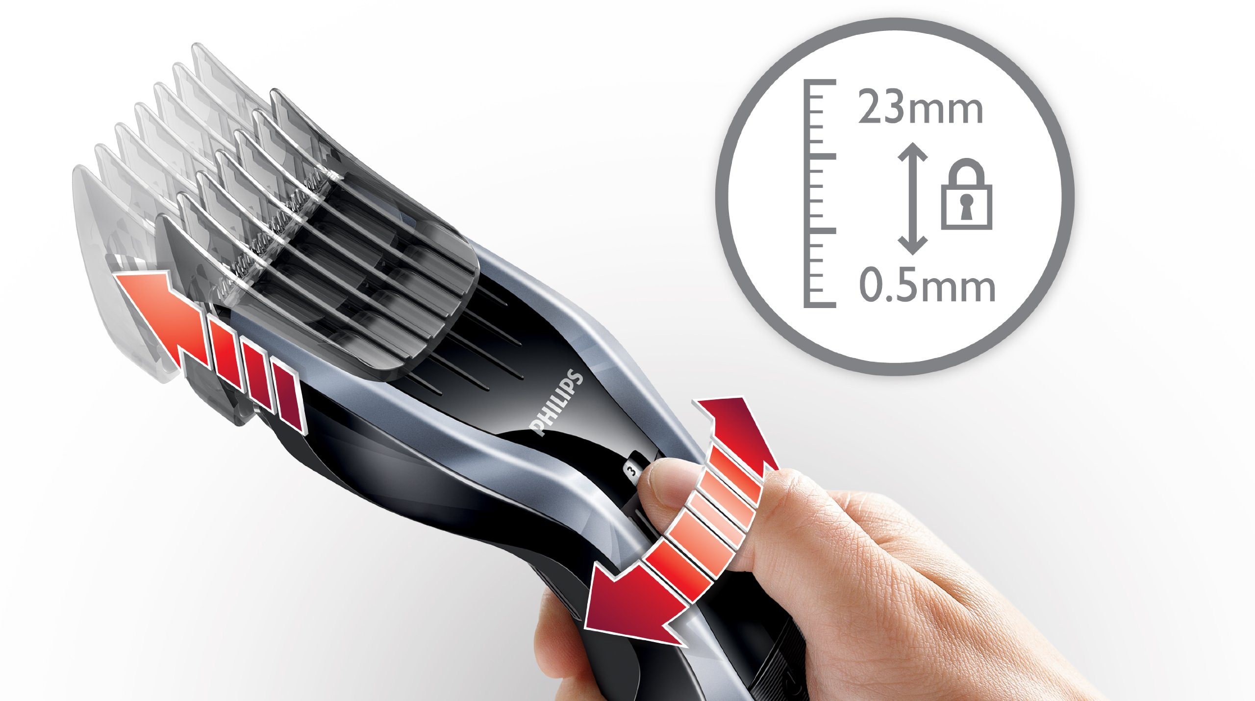 Philips Series 5000 Hair Clipper HC541083 With DualCut Technology And Beard Comb Attachments