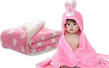 My Newborn Combo Of 2, Baby Blanket And Polka Wrapper- Pink Spread-Rabbit