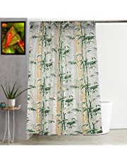 """Kuber Industries Bamboo Design PVC Shower Curtain with Hooks - 54""""x84"""", Green"""