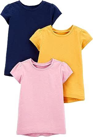 Simple Joys by Carter's T-Shirt a Maniche Corte in Tinta Unita Bambine e Ragazze, Pacco da 3