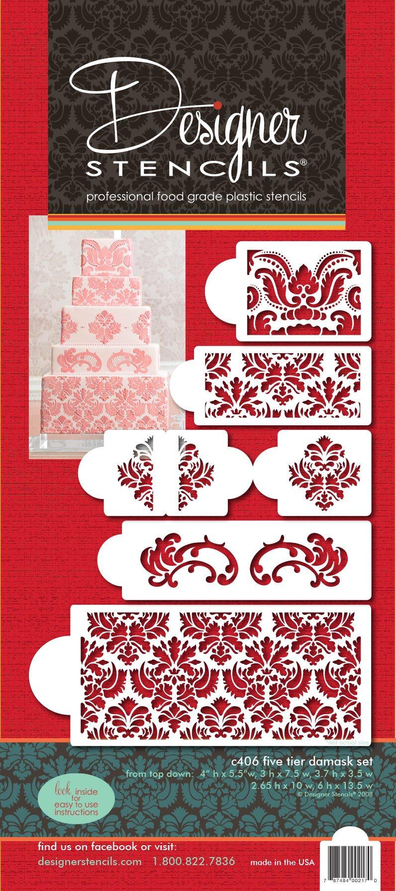 81qEnrSBryL - Designer Stencils C406Martha Stewart, Damask Cake 5-Tier Set Cake Stencil, Beige/Semi-Transparent
