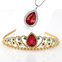 Kzslive Elena of Avalor Tiara Necklace Teardrop Jewelry Set Princess Costume Accessories Crown with Simulated Ruby Gifts