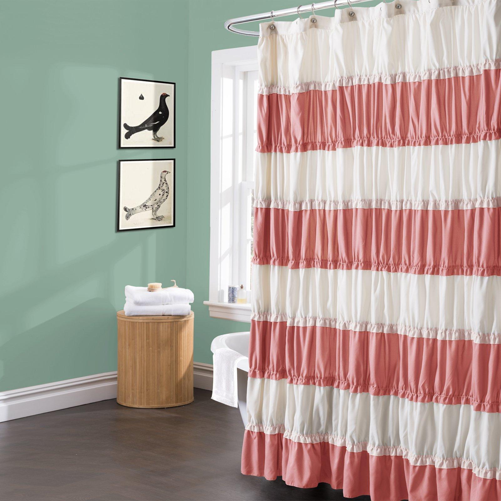 Lush Decor Isla Shower Curtain, Coral, Standard
