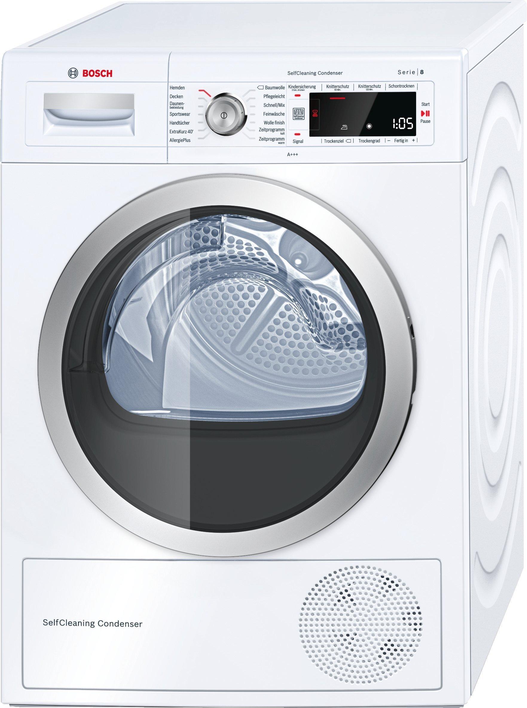 Bosch WTW875W0 Serie 8 Wärmepumpentrockner, Kondenstrockner, 8 kg, weiß