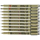 Sakura Pigma Micron 10 Fineliner pens Black Archival Ink Artist Drawing Sketch pens (003, 005, 01, 02, 03, 04, 05, 08), Graph