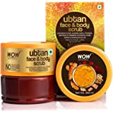 WOW Skin Science Ubtan Face & Body Scrub with Chickpea Flour, Almond Shell Powder, Saffron & Turmeric Extracts, Rose Water &