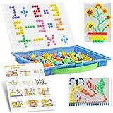 LOVEXIU Toys Mosaic 300 Piezas,Puzzle 3D Mosaico,Creativos Peg Rompecabezas,Mushroom Nails Jigsaw con Plantilla y Tablero,Jug