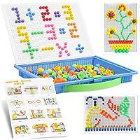 Jeux de Mosaïque 300 Pcs,Mosaique Puzzle,Clous de Champignon,Jouet Educatif Bloc de Construction Briques Jigsaw,Fille…